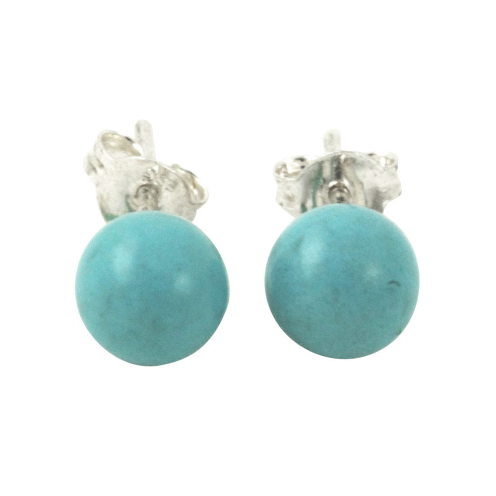 "Sterling Round ""Turkoise"" Blue Earrings"