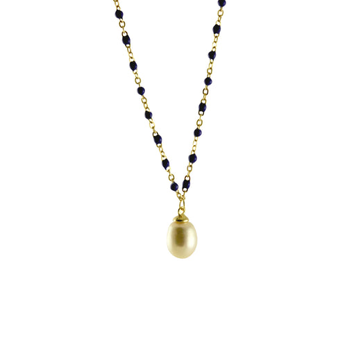 Gold-Dipped Blue Enamel & Pearl Drop Necklace