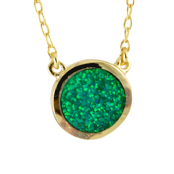 Gold-Dipped Blue Opal Solitaire Necklace