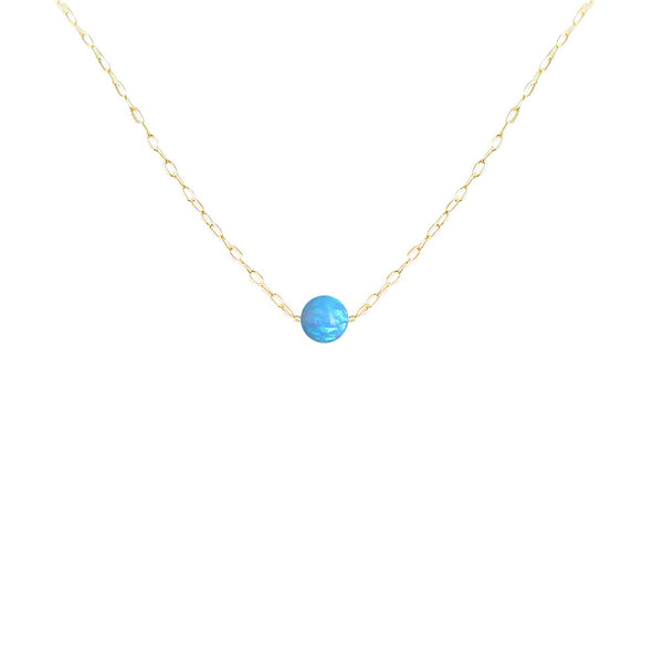 Sterling Silver Blue Opal Bead Pendant Necklace