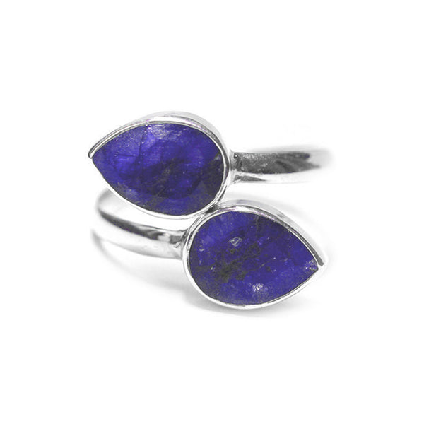 Sterling Silver Blue Stone Bypass Ring