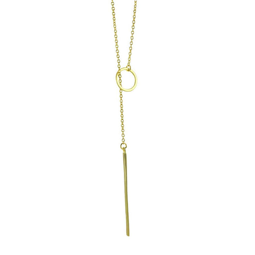 Sterling Circle Choker Lariat Necklace