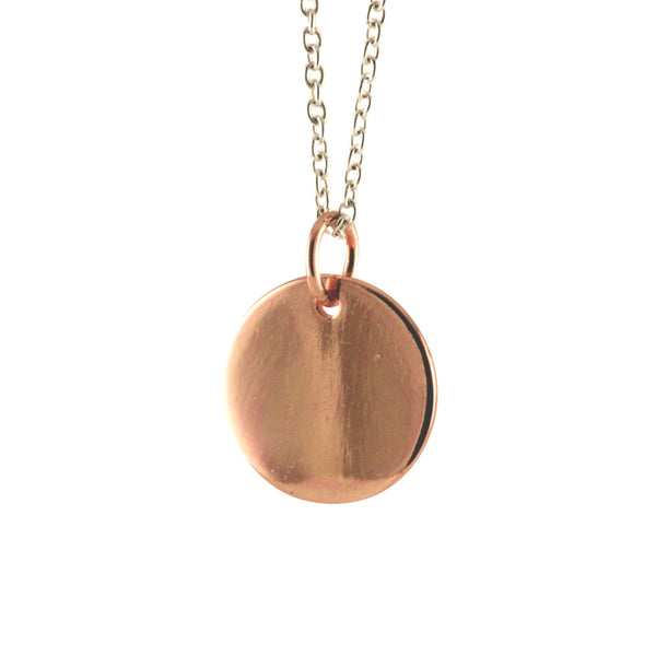 Rosy Silver Round Disc Charm Necklace