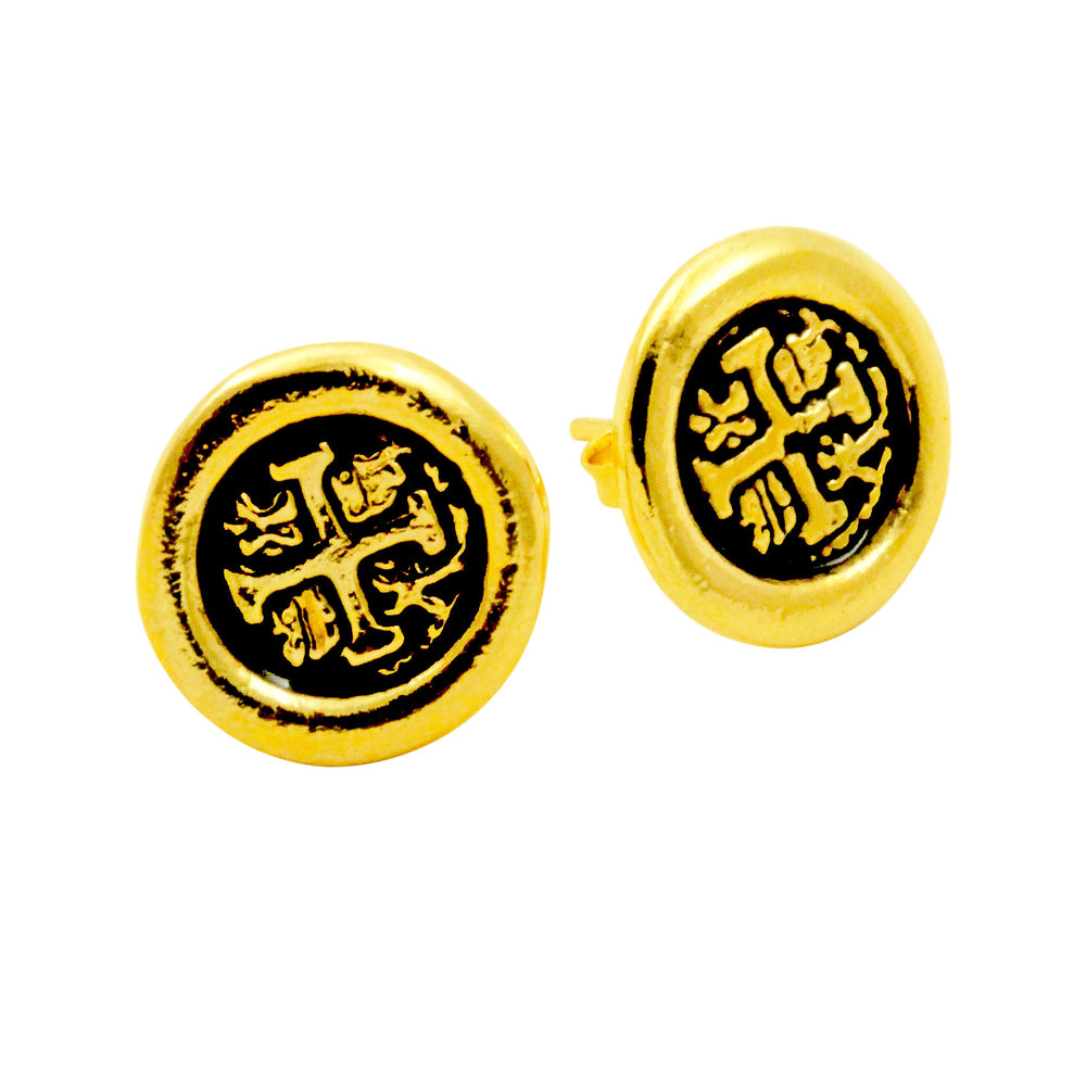 Gold Filled Macacos Spanish Coin Style Earrings