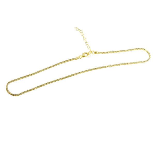 Gold-Dipped CZ Stone Choker Necklace