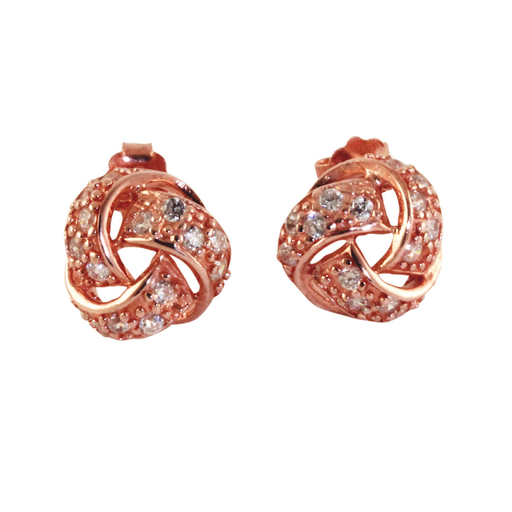 Rosy Love Knot Earrings with CZ Stones