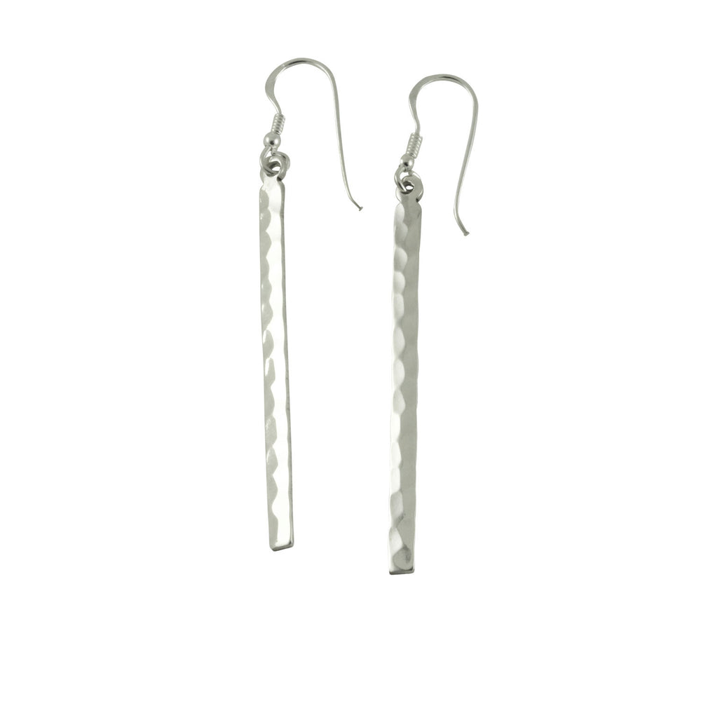 Sterling Hammered Bar Dangle Drop  Earrings