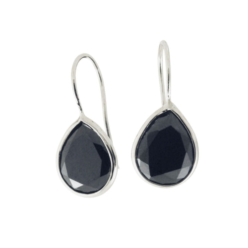 Sterling Silver Black Stone Drop Earrings
