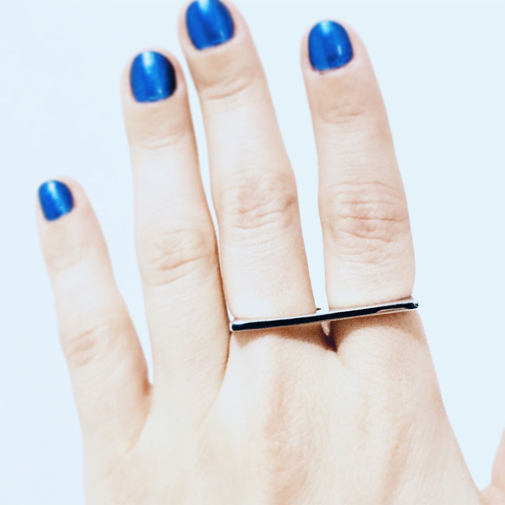 Sterling Silver Two Finger Bar Ring