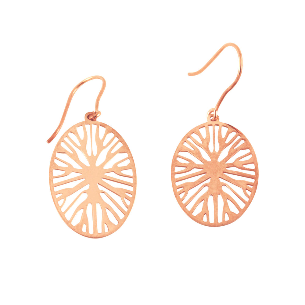 """Timber"" Rosy Openwork Round Disc Drop Earrings"