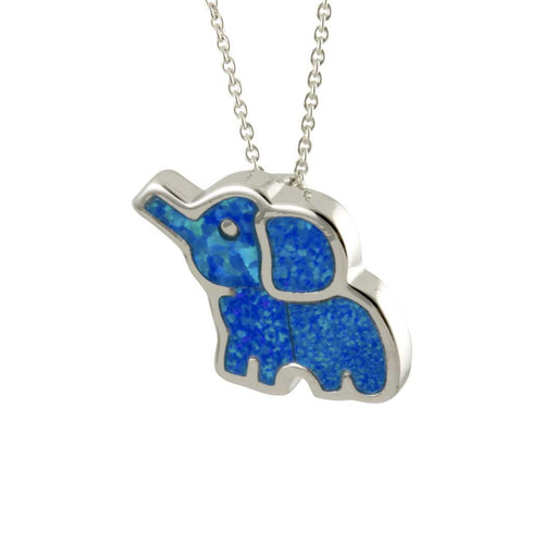Sterling Silver Blue Opal Elephant Pendant Necklace