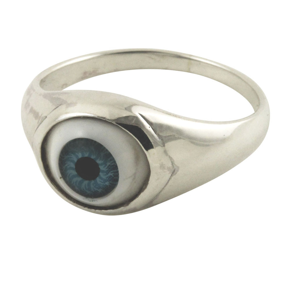 """I C U"" Sterling Silver Blue Evil Eye Ring"