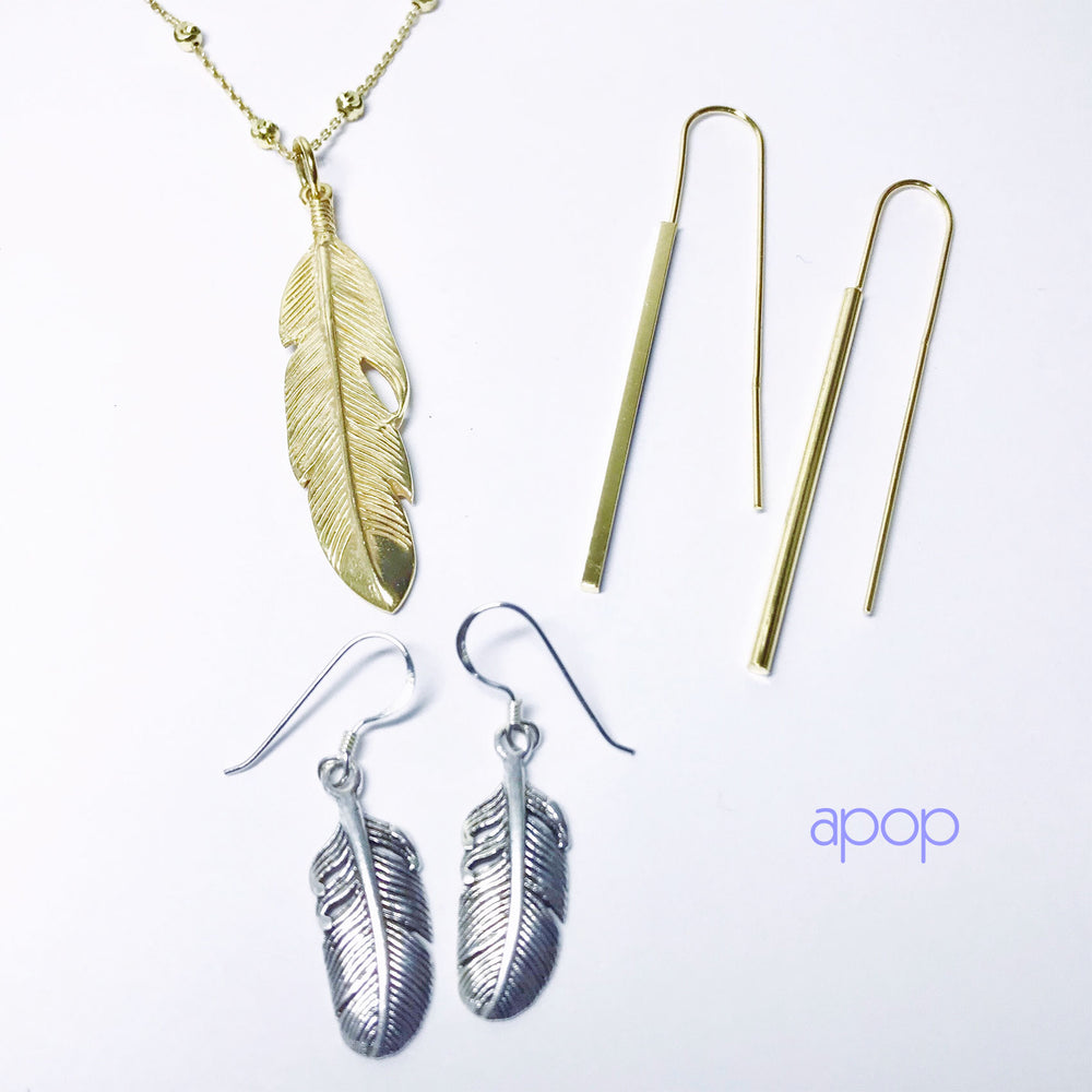 Gold-Dipped Feather Pendant Charm Necklace APOP EXCLUSIVE