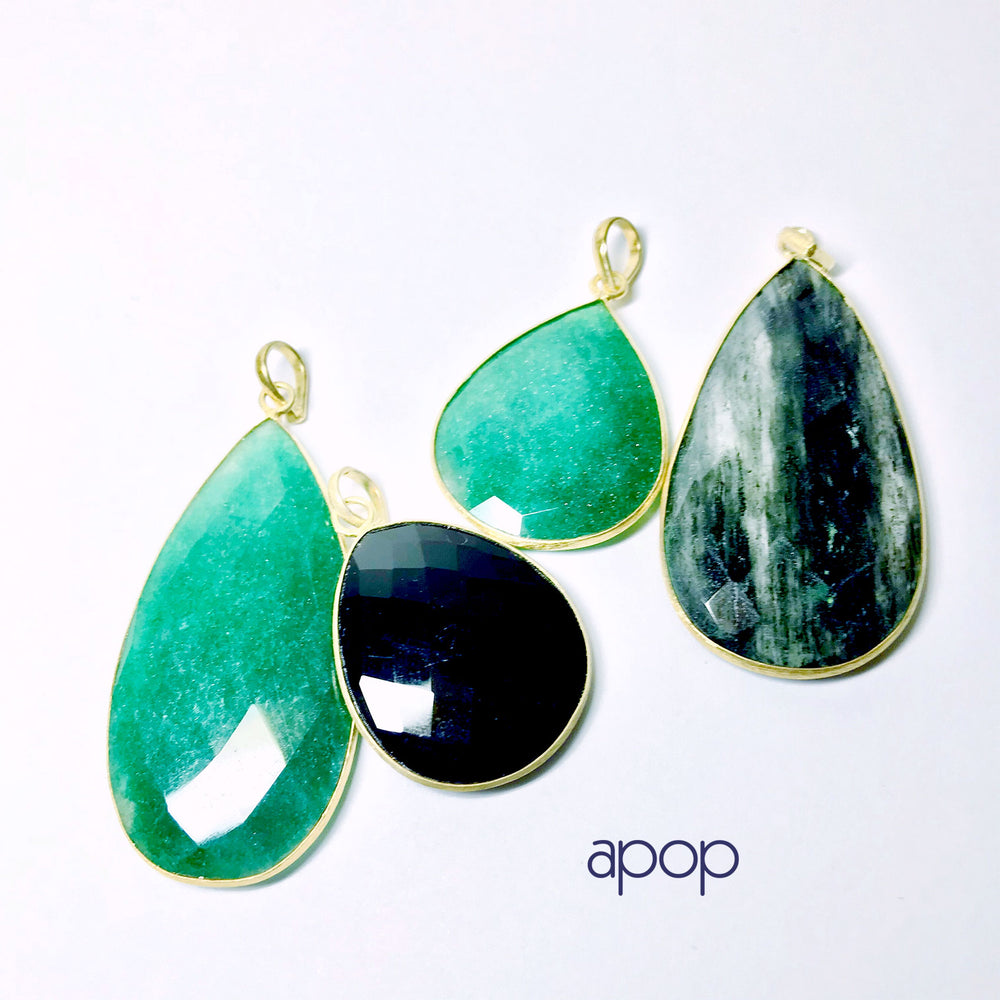 Gold-Dipped Green Stone Pendant Necklace