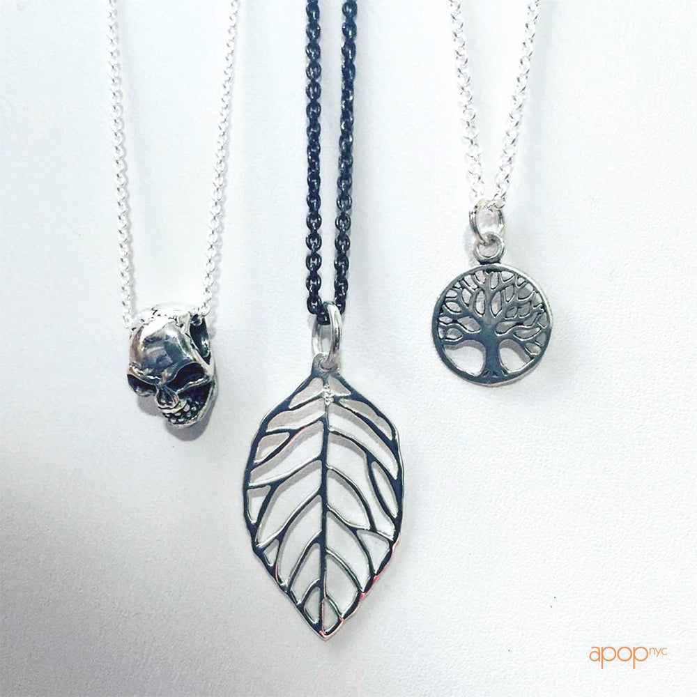 Sterling Silver Open Leaf Pendant Necklace