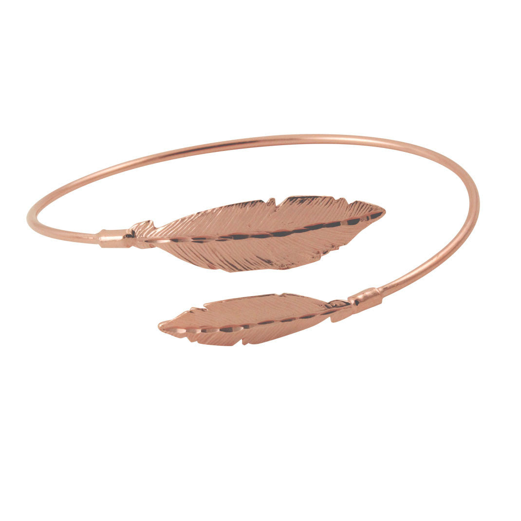 Rosy Feather Bangle Cuff Bracelet