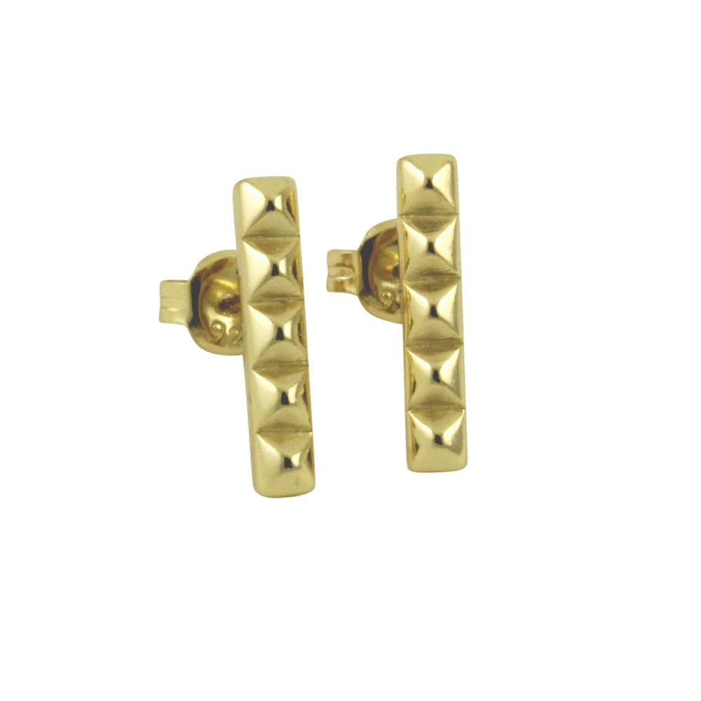 """Studded"" Sterling Silver Bar Earrings"