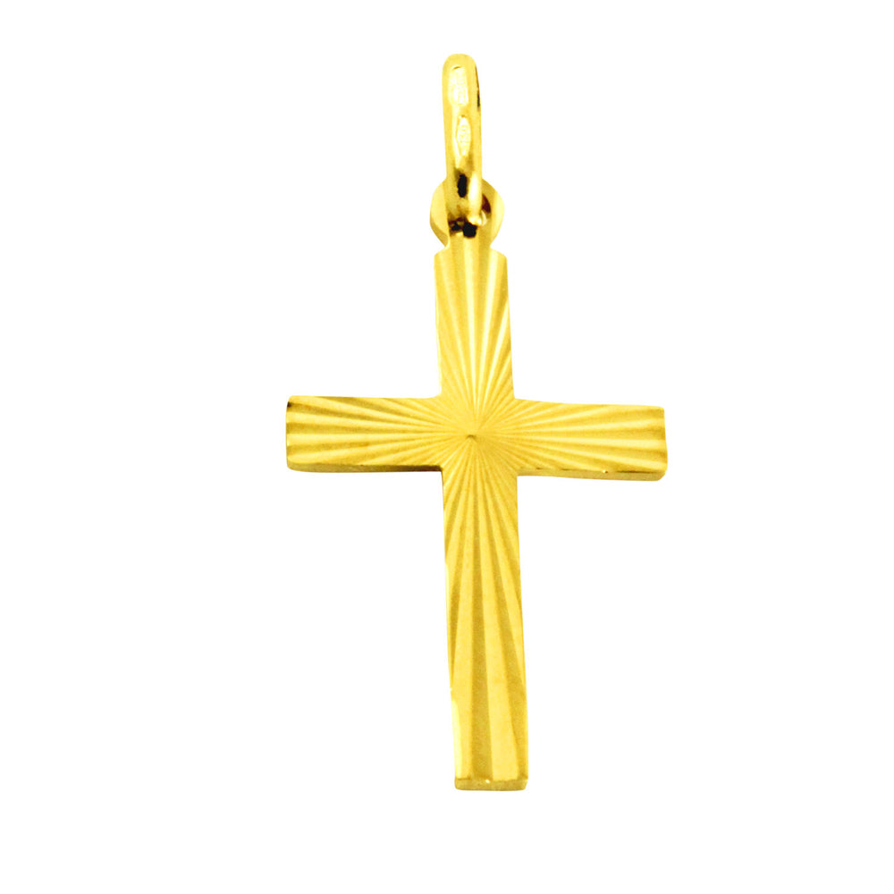 18K Yellow Gold Shining Cross Pendant