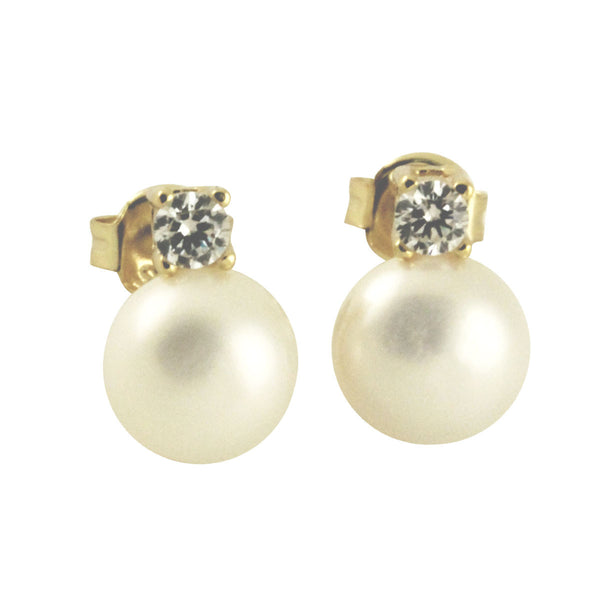Sterling Silver Pearl & CZ Earrings