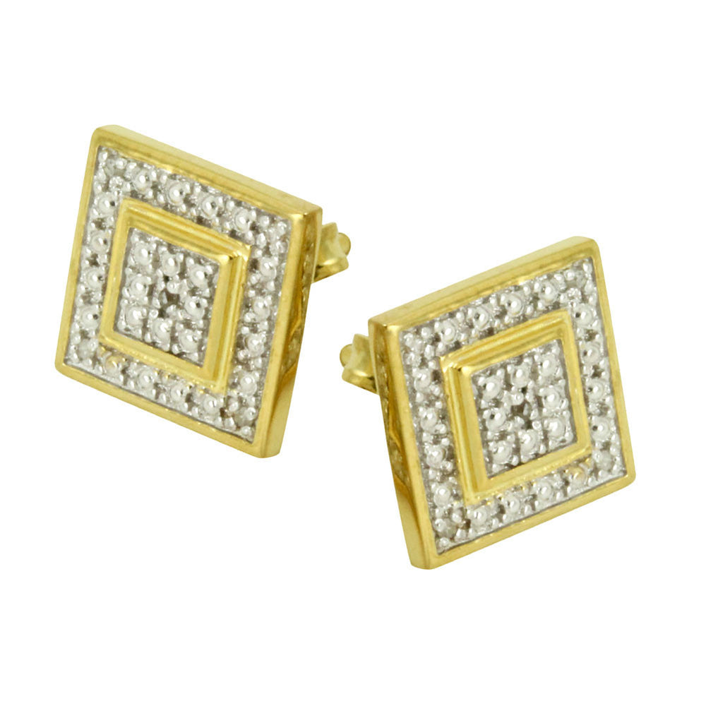 Two-Tone Diamond Square Cluster Stud Earrings