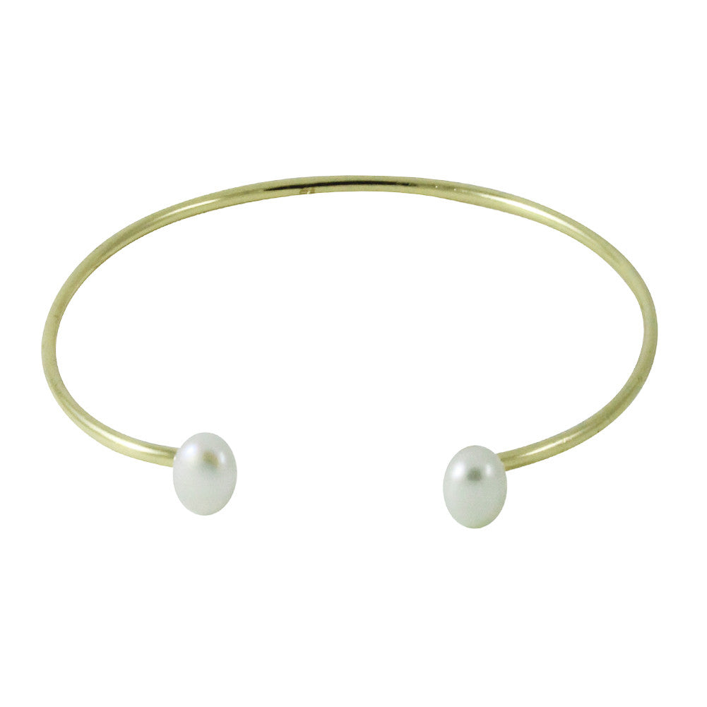 """Buttons"" Double Pearl Cuff Bracelet Gold-Dipped"