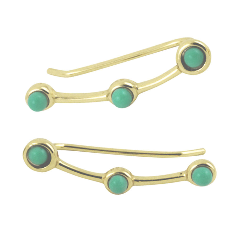 Gold-Dipped Turkoise Blue Ear Pin Climber Earring
