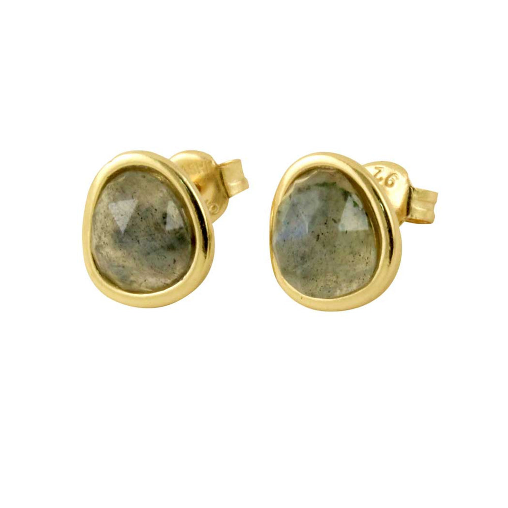 Gold Plated Silver Round Labradorite Earrings
