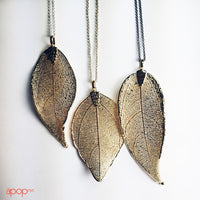 Rose Gold-Plated Organic Leaf Pendant