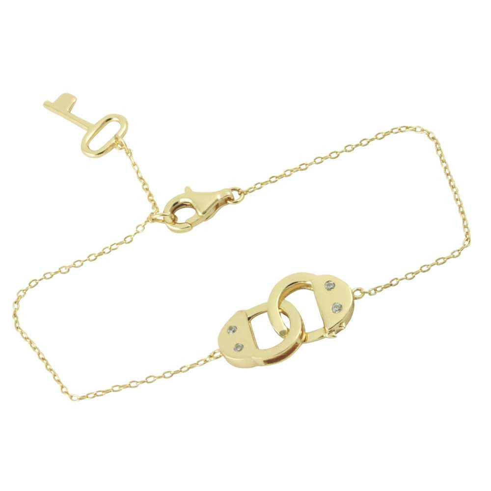Gold-Dipped Handcuff Bracelet with Key Charm