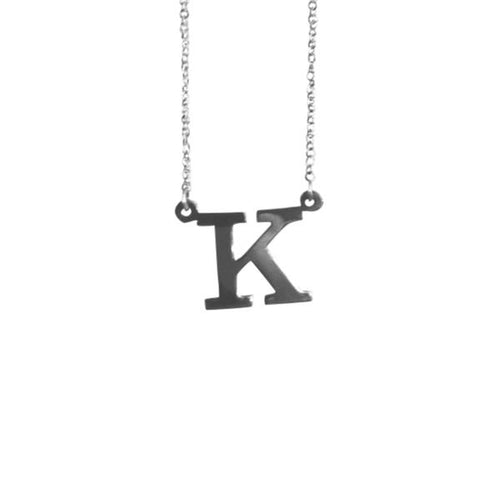 Sterling Silver Mini Block Letter Initial NamePlate Necklace
