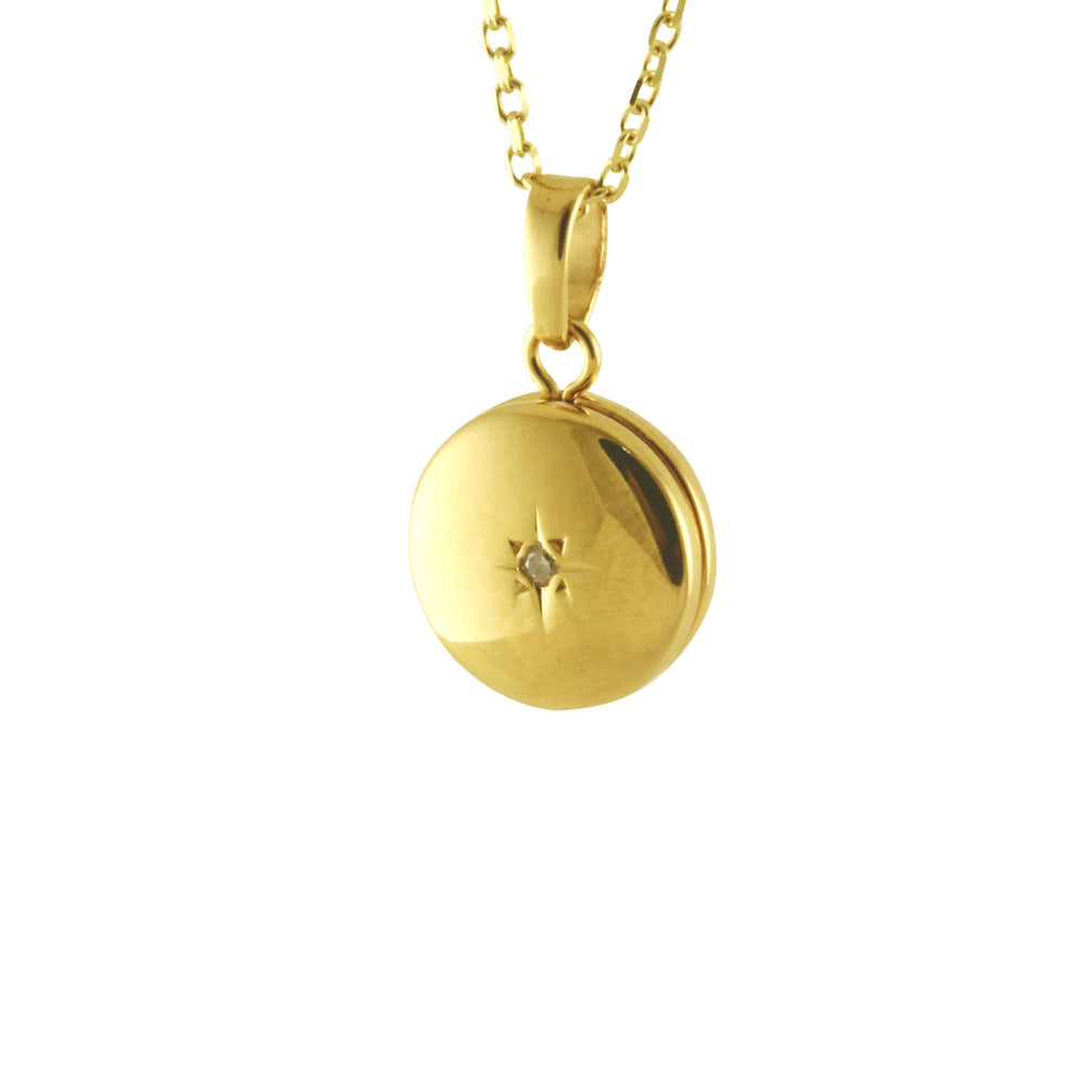 "14kt Mini ""Charming"" Round Locket Pendant Necklace"
