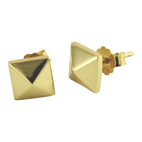 Gold-Dipped Pyramid Stud Earrings