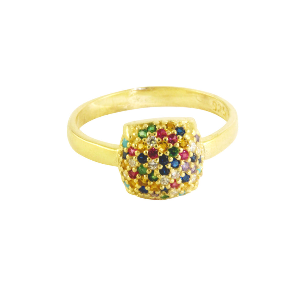 Sterling Silver CZ Multicolor Rainbow Cushion Ring