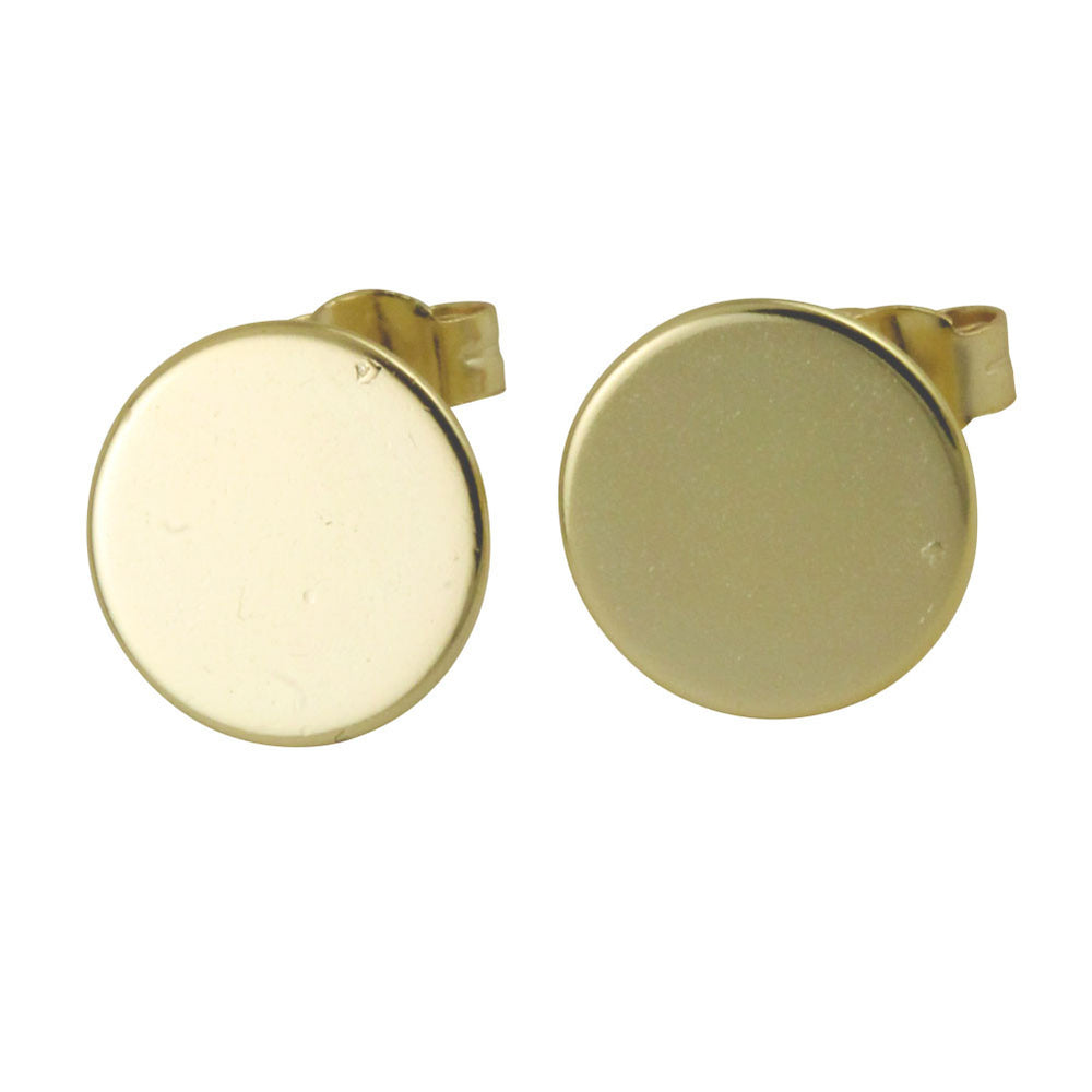 """Spot"" Gold-Dipped Round Disc Earrings"