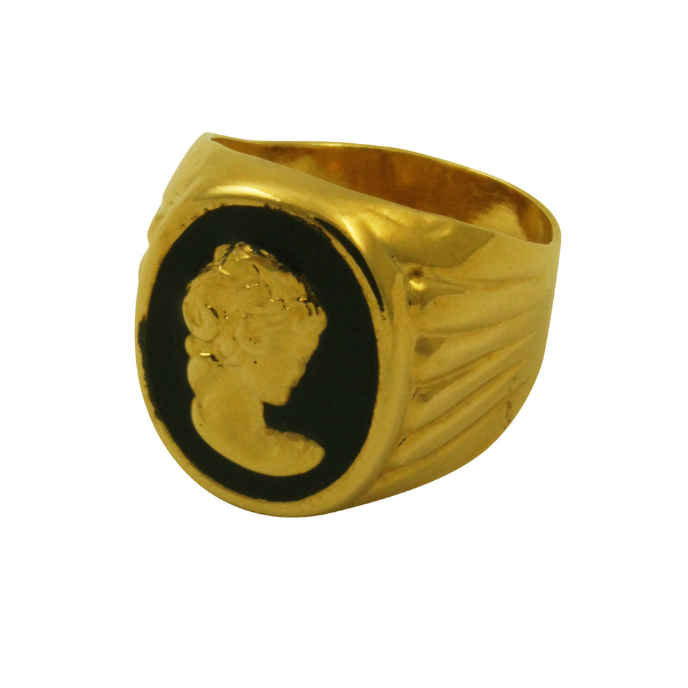 """Lady Cameo"" Gold-Plated Vintage Style Signet Ring"