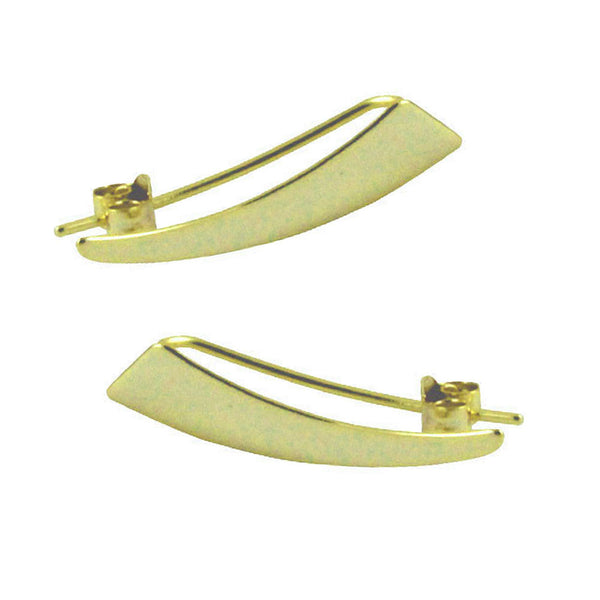 """Divy"" Gold-Dipped Triangle Ear Pin Climber or Drop Earrings"