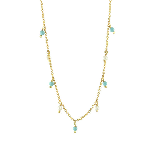 Gold-Dipped Pearls & Turkoise Necklace