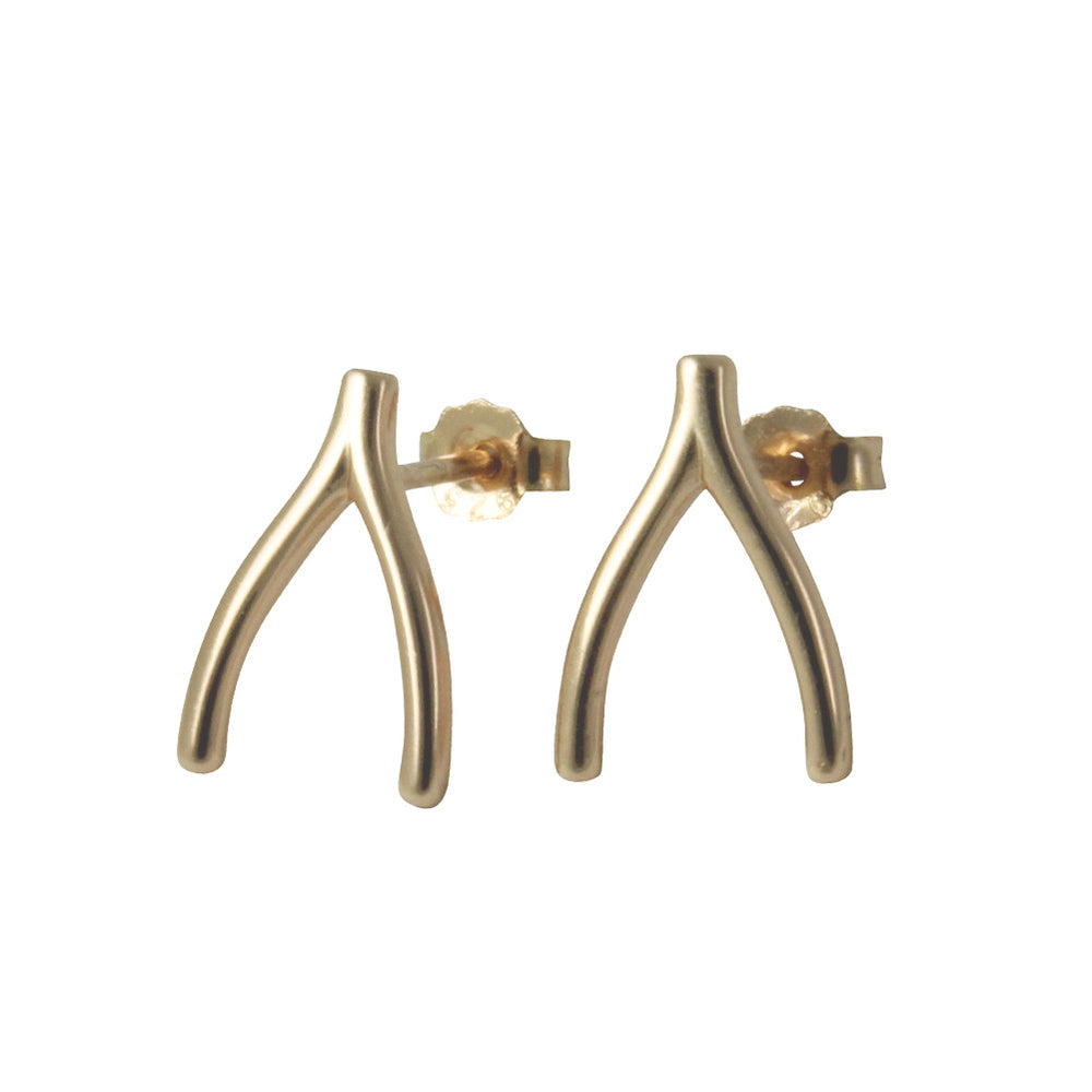 Gold-Dipped Wishbone Stud Earrings