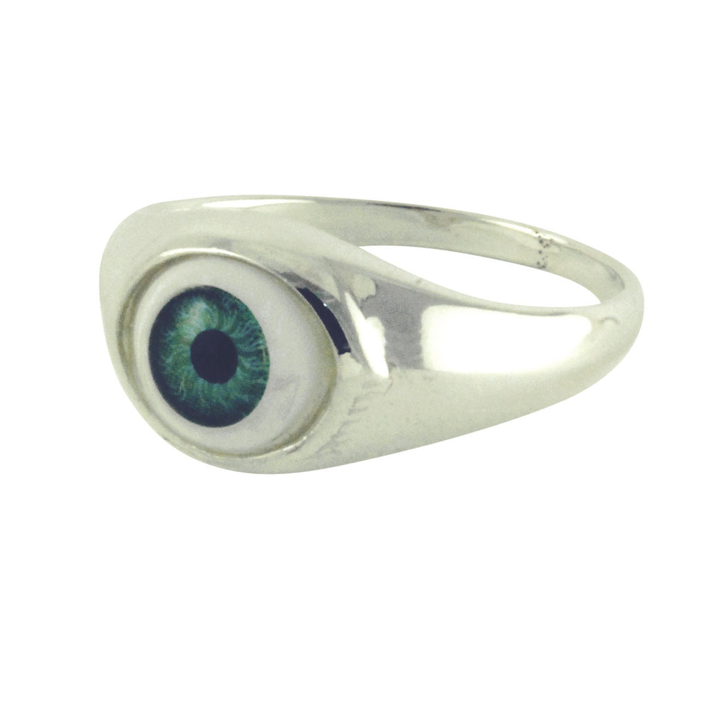 """I C U"" Sterling Silver Green Evil Eye Ring"