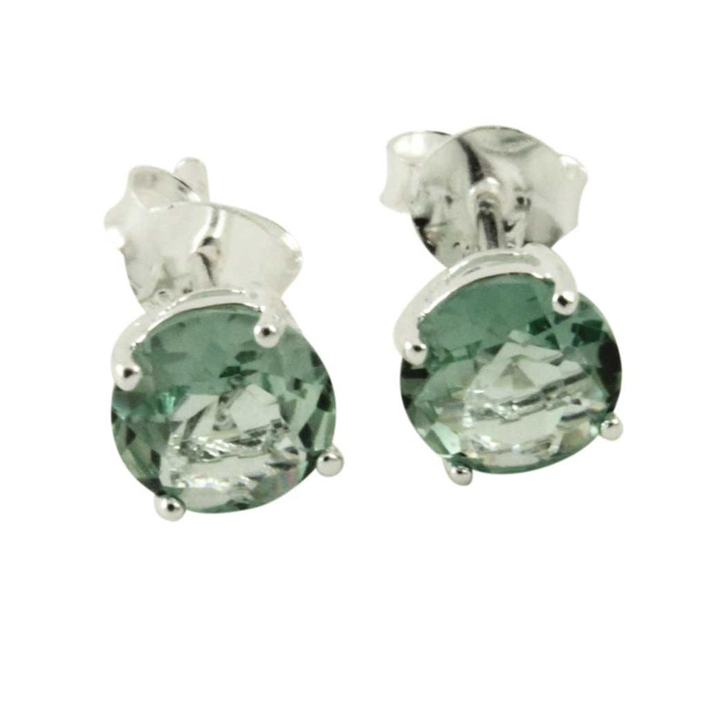 Sterling Prasiolite Stud Earrings