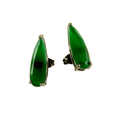 Black & Emerald Green Stone Teardrop Earrings