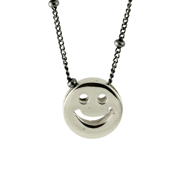 """Good Times"" Sterling Happy Face Necklace"