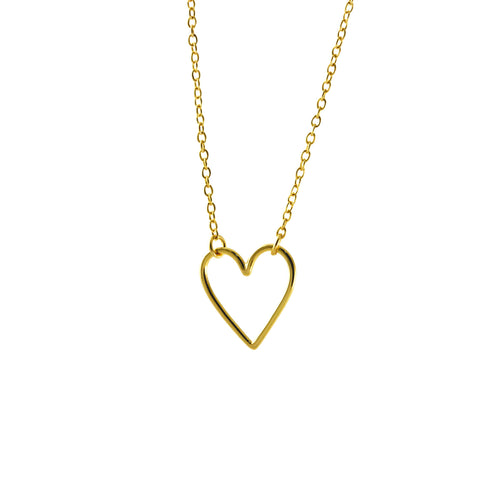 Sterling Floating Heart Pendant Necklace