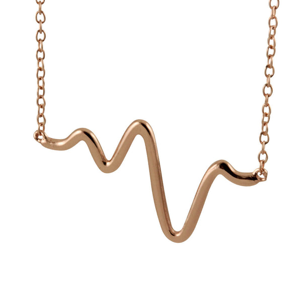 "Rosy ""Heartbeat"" EKG Necklace 17 inch"