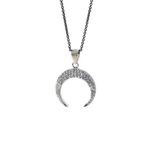Sterling Silver CZ Horn Pendant Necklace