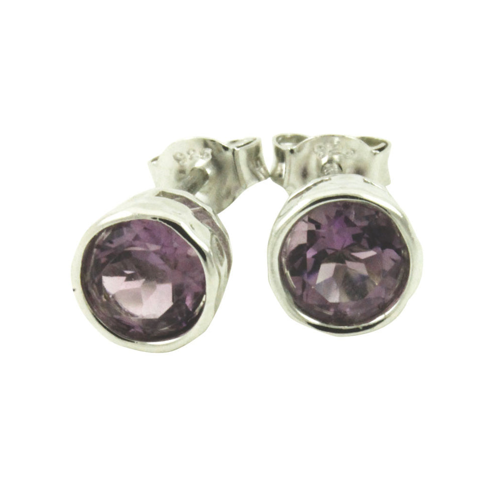 Sterling Amethyst Stud Earrings