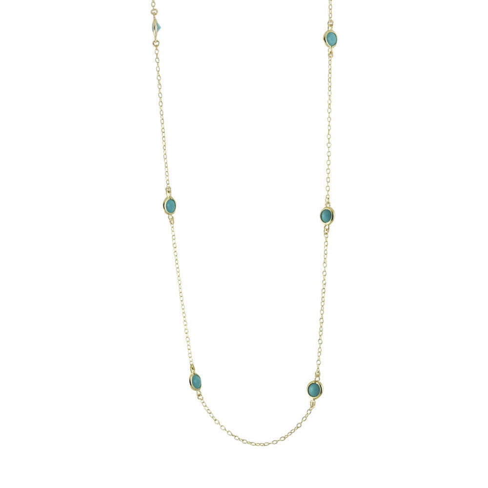 "Gold-Dipped ""Turkoise Dots"" Station Necklace"