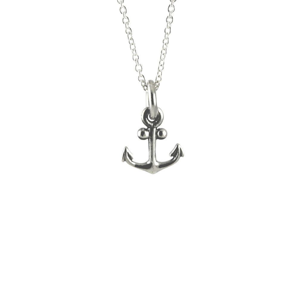 """Tiny"" Sterling Silver Anchor Pendant Necklace"