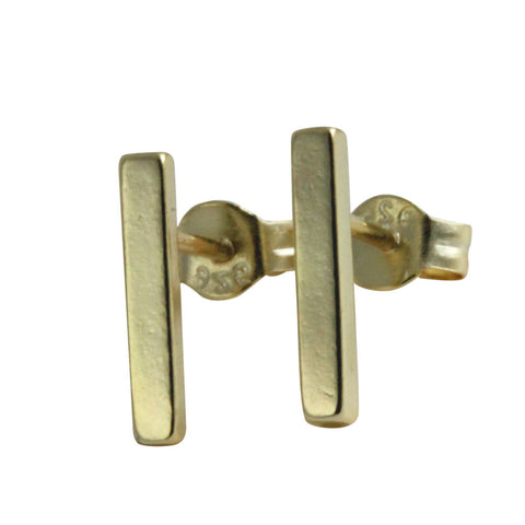 Gold Vermeil Mini Bar Stud Earrings Gold Plated Silver