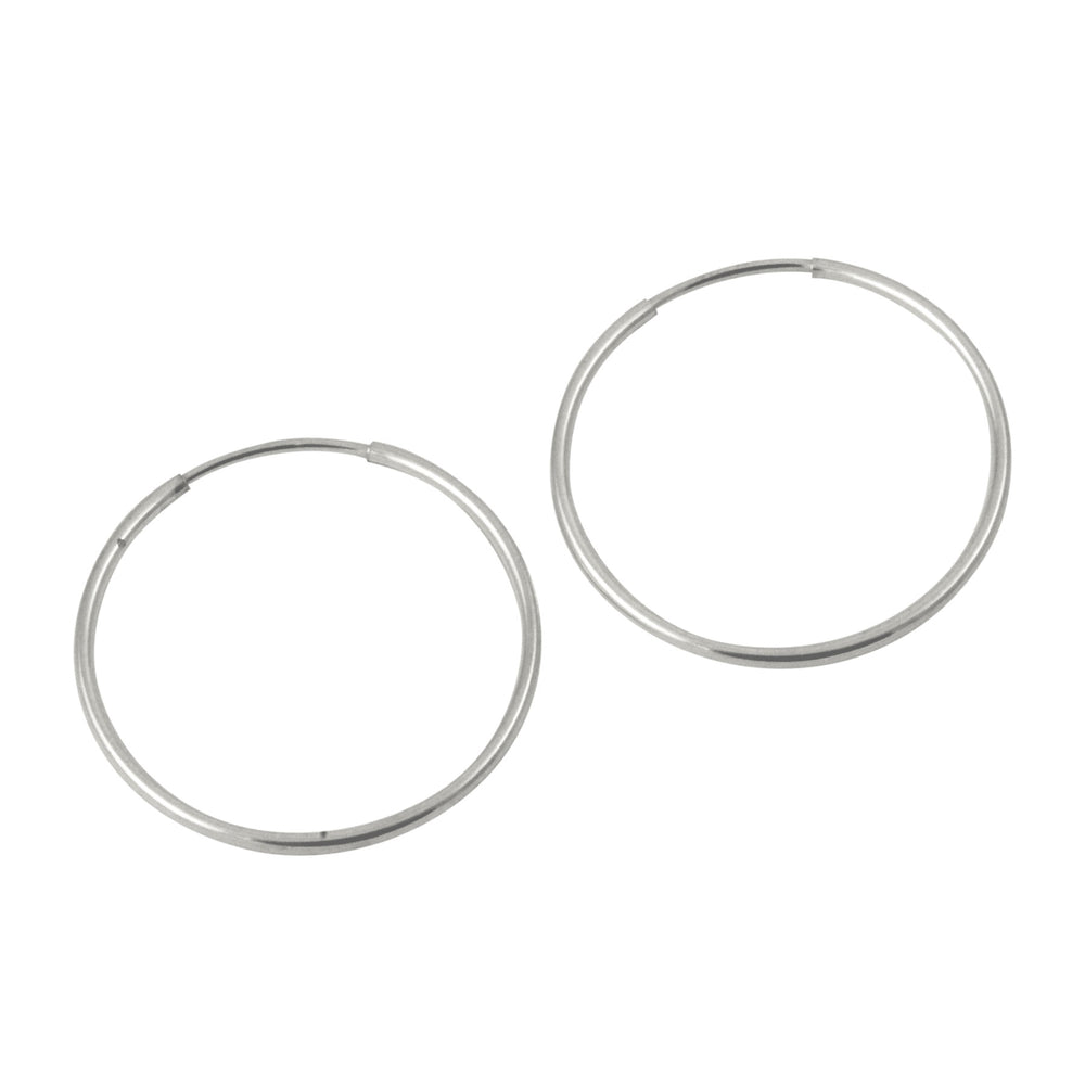 Sterling Silver Medium Plain Endless Hoop Earrings